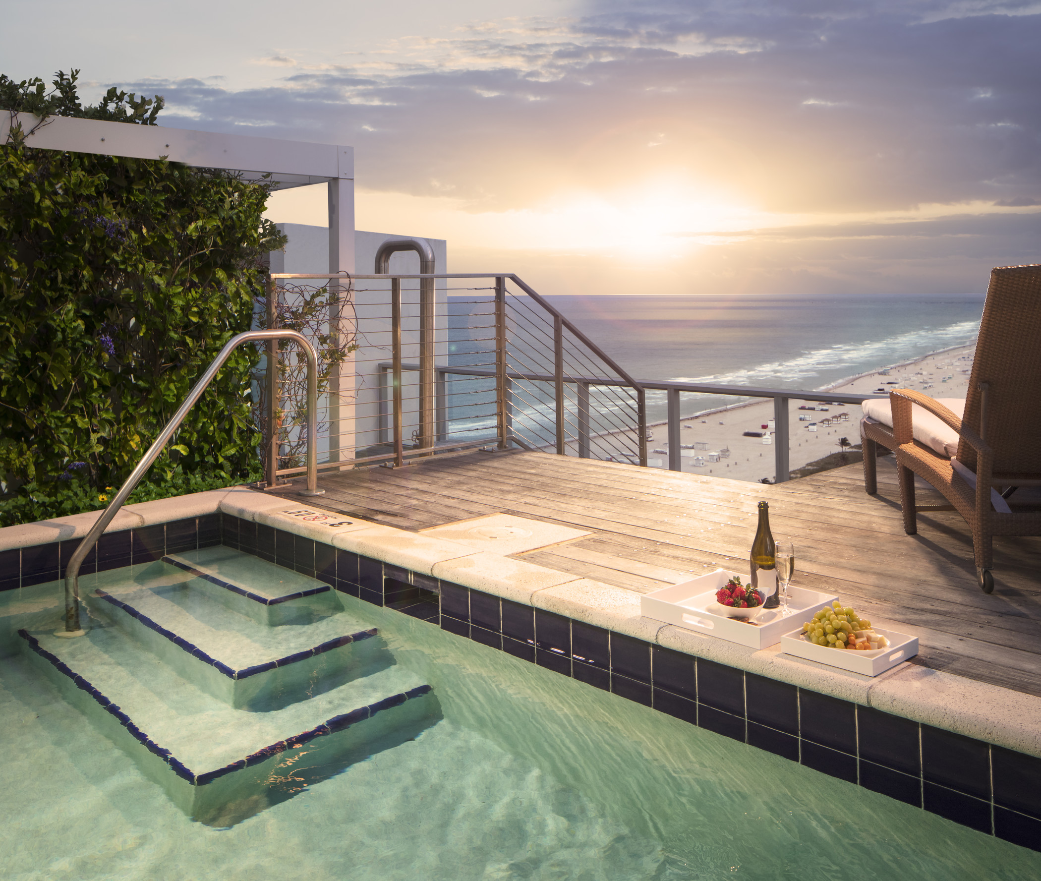 Rootop pool on balcony with ocean view